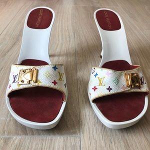 Louis Vuitton White Murakami Monogram Sandals Heel